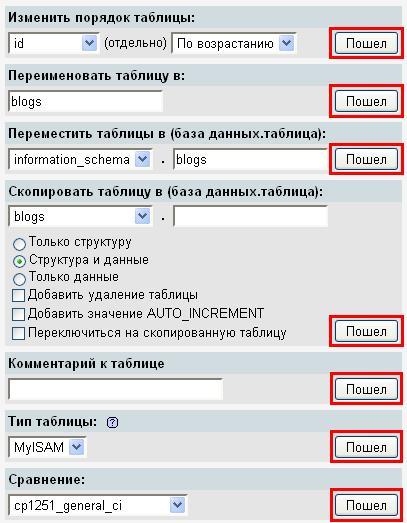Редактирование таблицы в PHPMyAdmin