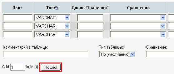 Настройки таблицы в PHPMyAdmin